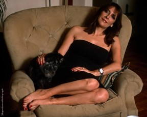 Marina Sirtis relaxing and petting a double entendre.