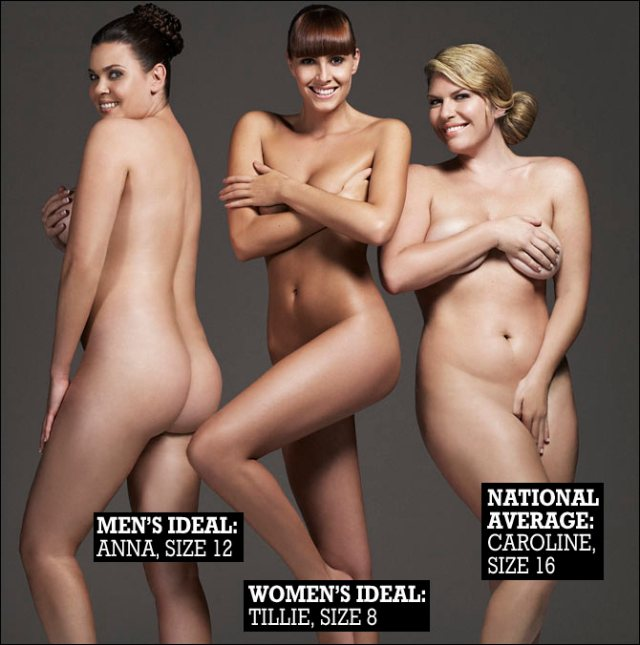 The ideal woman's body. Sizes are British; in US terms they are 14, 10, and 18, respectively.